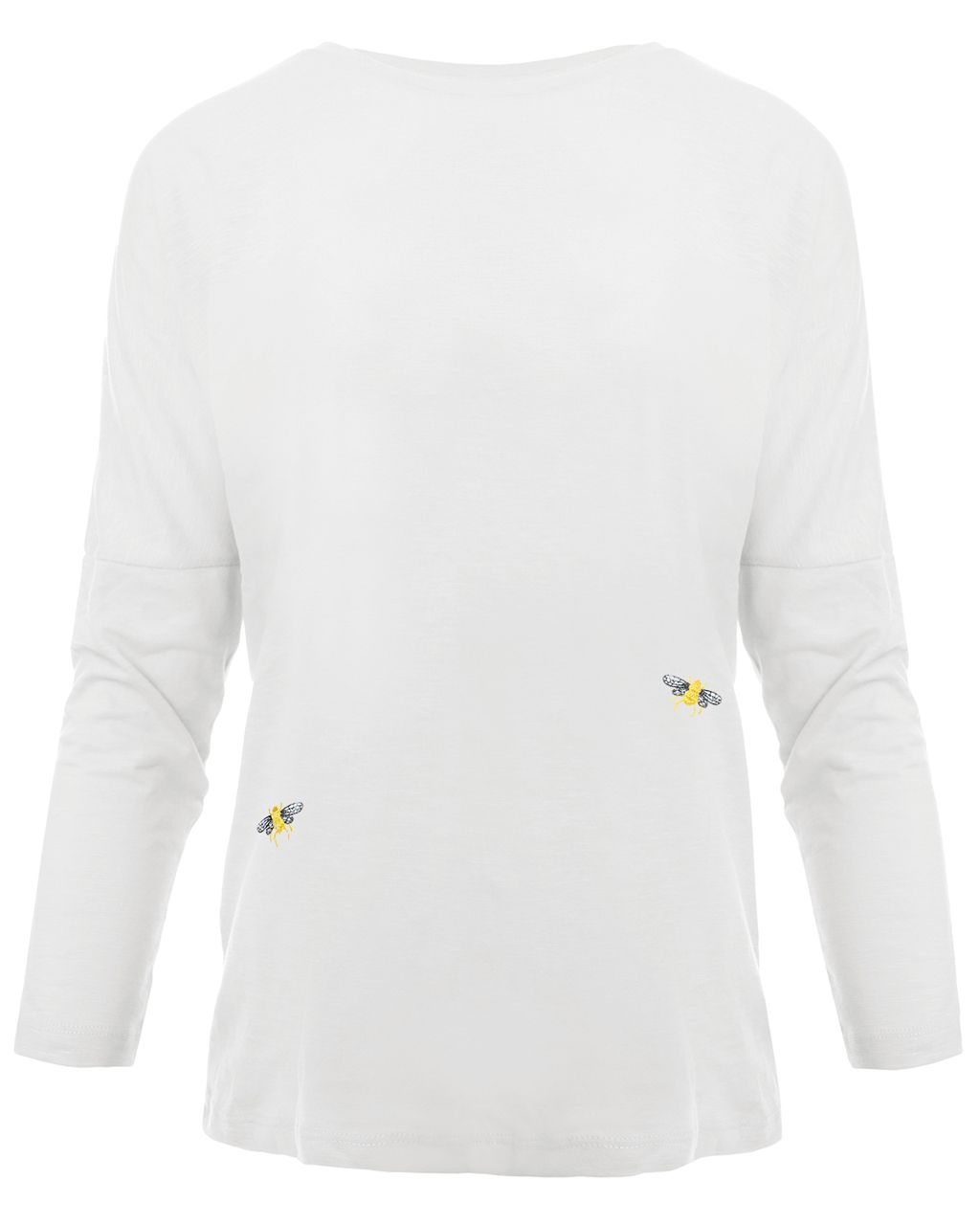 Bee Embroidered Dropped Shoulder T-Shirt White