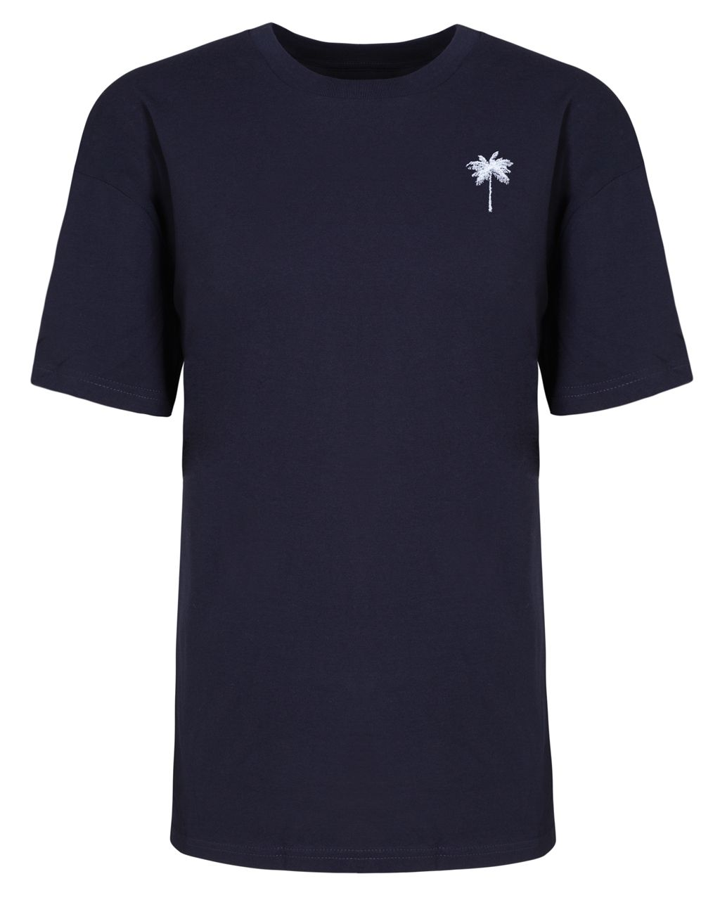 Palm Tree Embroidered T-Shirt Navy