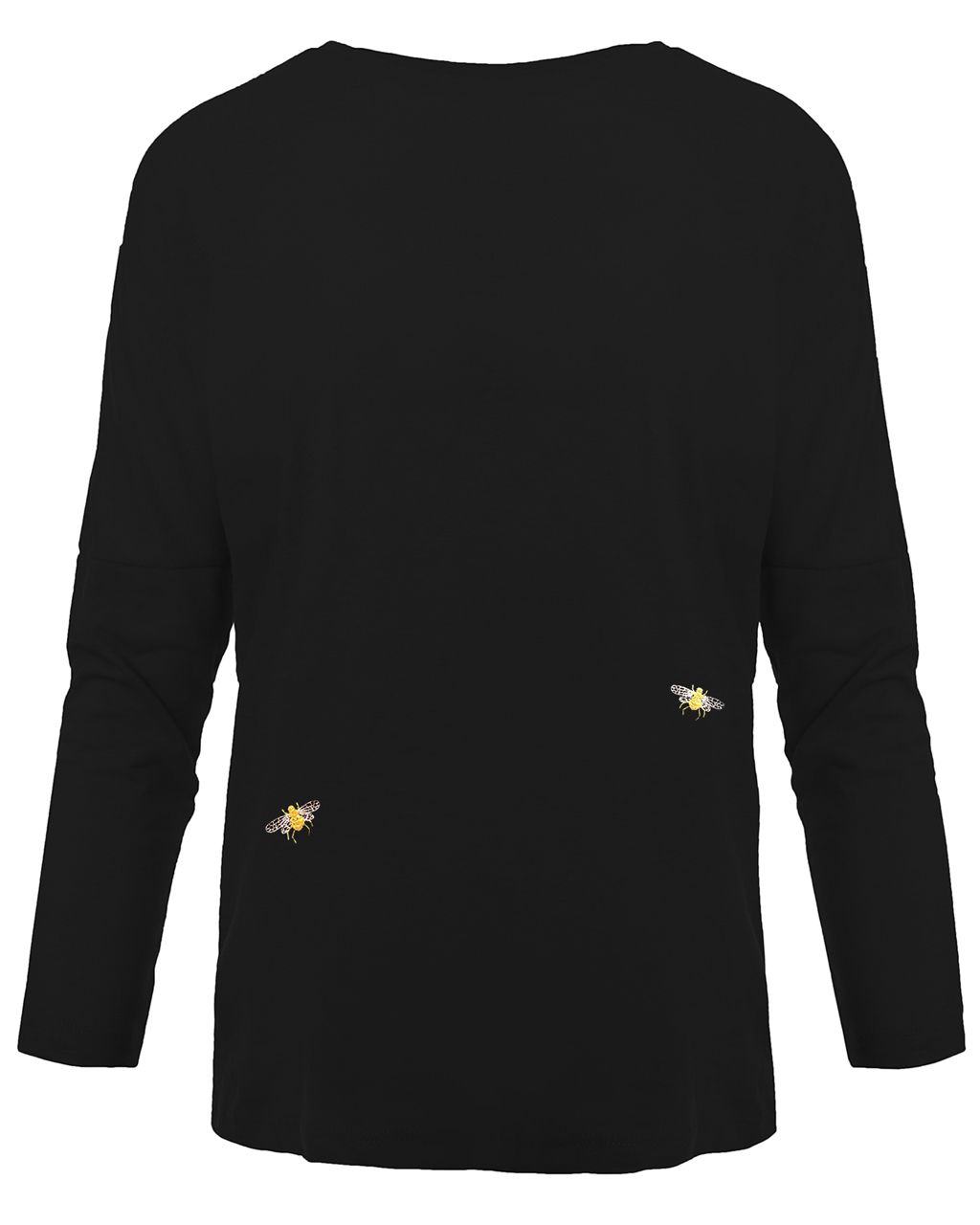 Bee Embroidered Dropped Shoulder T-Shirt Black